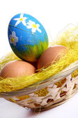 Easter backgroung with eggs — Stock Photo
