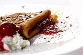 Sweet pancakes with chocolate — Stock Photo