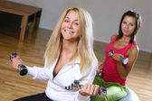 A beautiful young woman on fitness training — Stock Photo