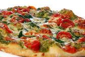 Tasty and fresh salami pizza — Stock Photo