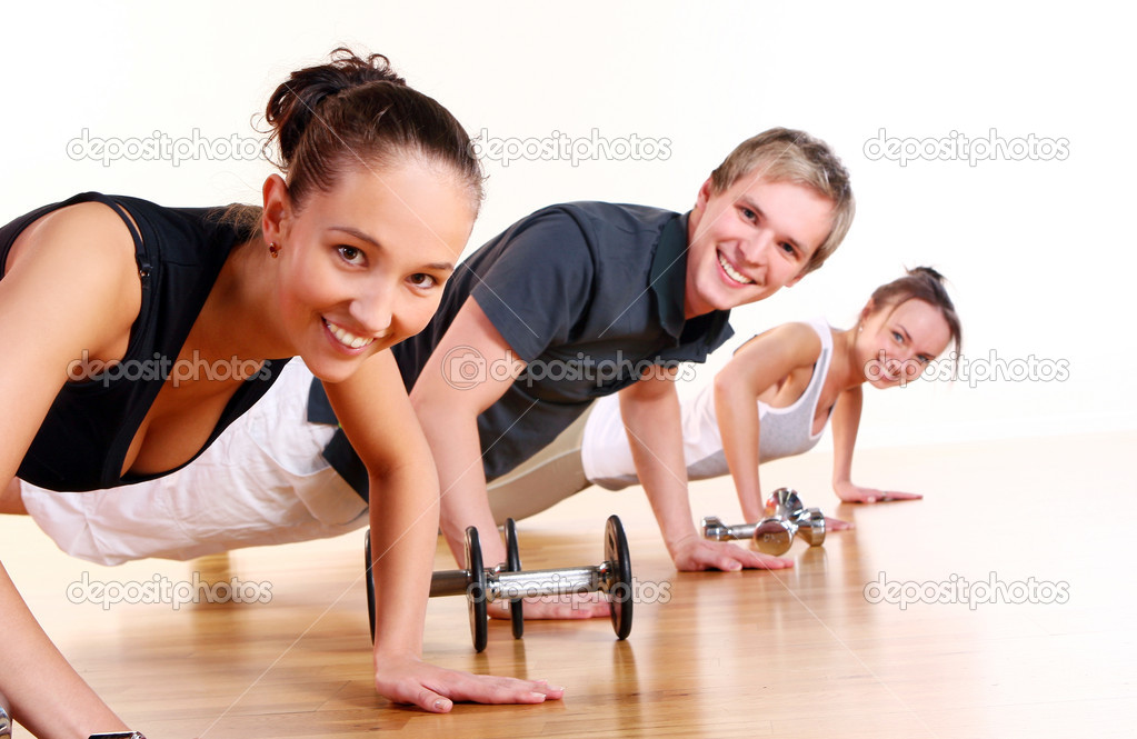 Group  doing fitness exercise  Stock Photo #4300775