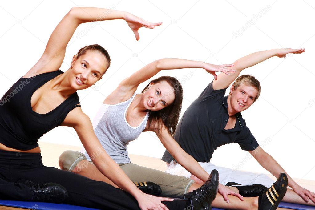 Group  doing fitness exercise — Stock Photo #4300782