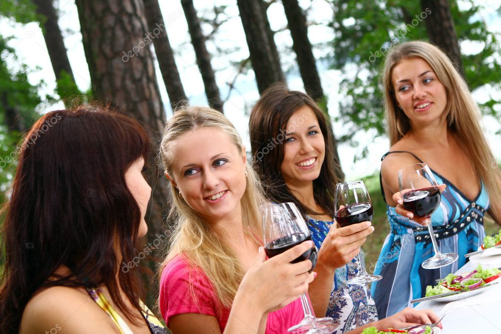 Group of beautiful woman drinking wine  Stock Photo #4300808