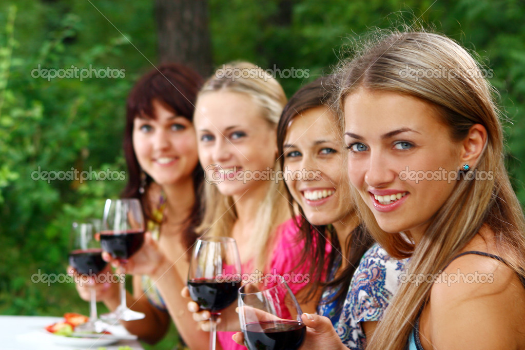 Group of beautiful woman drinking wine  Stock Photo #4300811