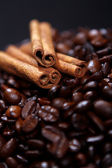 Coffee beans and canellas sticks — Stock Photo