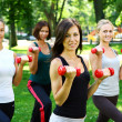 Young and attractive womans doing fitness exercises - Foto Stock