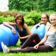 young and attractive womans doing fitness exercises — Stock Photo #4717616