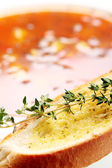 Toast with oil and thyme — Stok fotoğraf