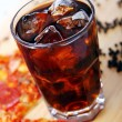 Fresh pizza and cold cola drink — Stock Photo