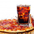 Stock Photo: Fresh pizza and cold cola drink