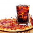 Fresh pizza and cold cola drink — Stock Photo #5023548