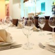 Banquet table with restaurant serving - Stock Photo