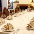Banquet table with restaurant serving — Stock Photo