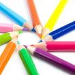 Coloured pencils arranged in the form of the sun — Stock Photo #4339156