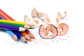 Sharpened pencil with shavings — Stock Photo