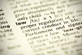 "Dictionary definition of the word ""Law"" — Stock Photo"