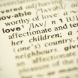 Dictionary definition of the word &quot;LOVE&quot; in English - Stock Photo
