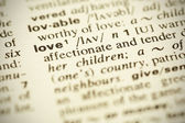 """Dictionary definition of the word """"LOVE"""" in English — Stock Photo"""