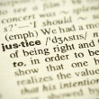 "Dictionary definition of the word ""Justice"" in English - Stock Photo"