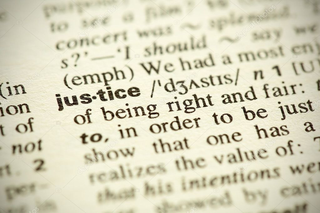 Dictionary definition of the word Justice in English. Shallow DOF. — Stock Photo #4857206
