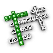 Renewable energy crossword — Stock Photo