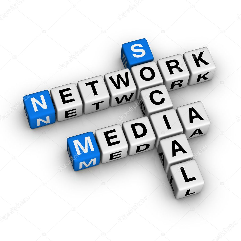 Social Media Network  (blue-white cubes crossword series) — Stock Photo #4556133