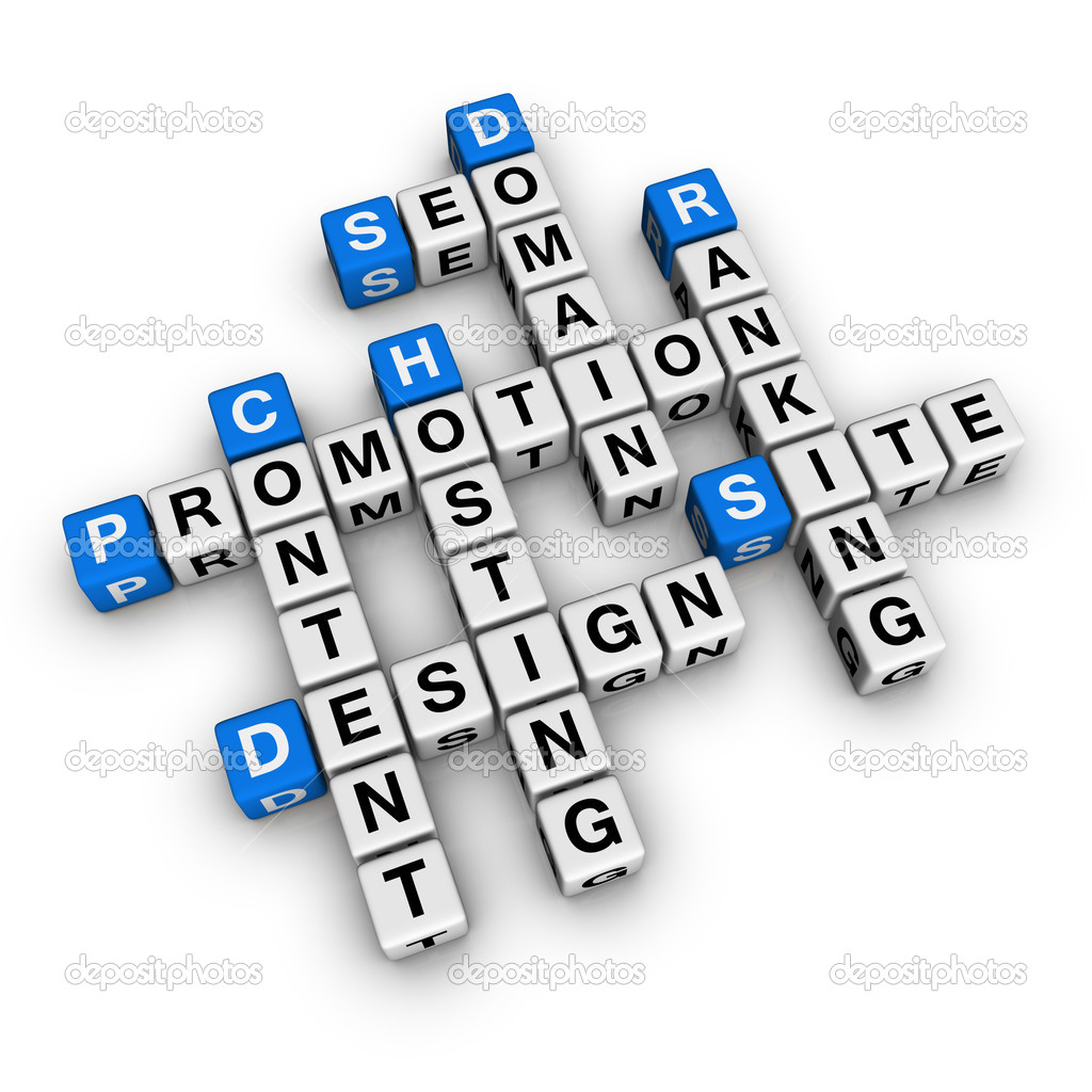 Website promotion (blue-white cubes crossword series)  Stock Photo #4556150