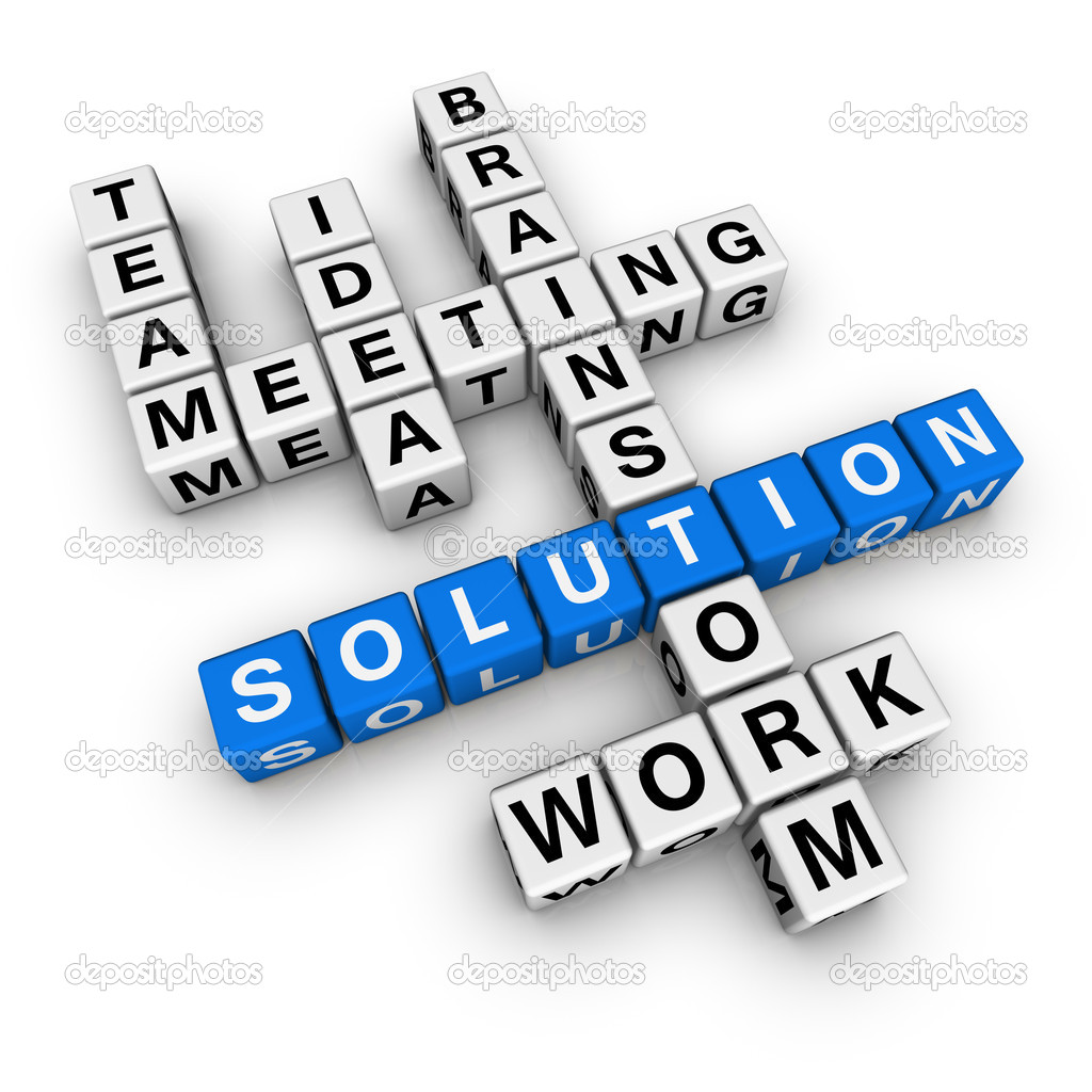 Solution crossword (blue-white cubes crossword series)  Stock Photo #4556165