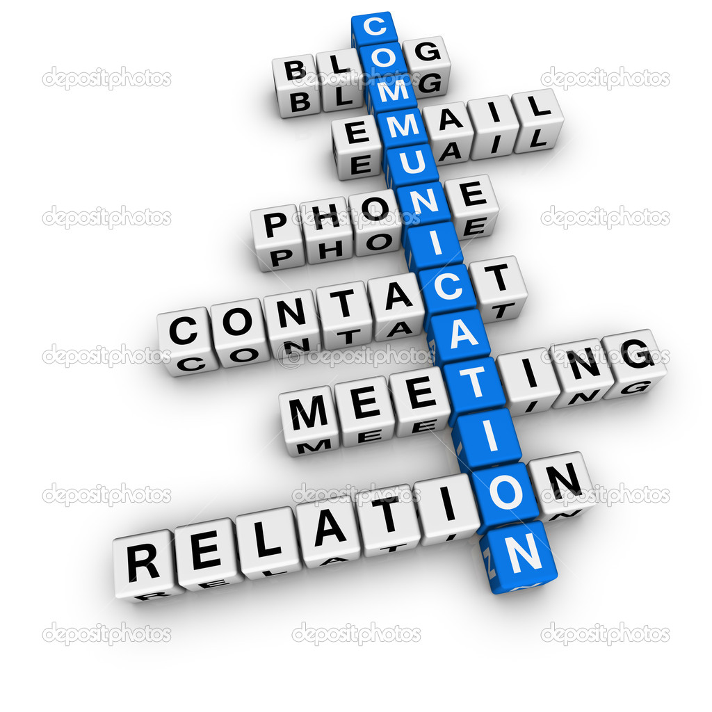 Communication crossword (blue-white cubes crossword series) — Stock Photo #4556166