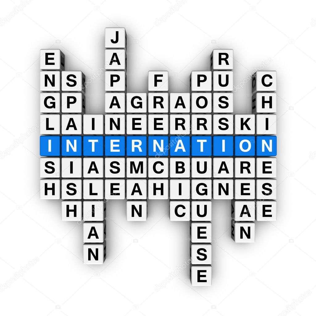 Languages crossword (blue-white cubes crossword series) — Stock Photo #4556168