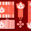 Stock Photo: Teapot tags emblems cards