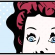 Stock Photo: Cropped womface pop art comic banner with Eyes Wide open