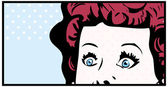 Cropped woman face pop art comic banner with Eyes Wide open — Stock Photo