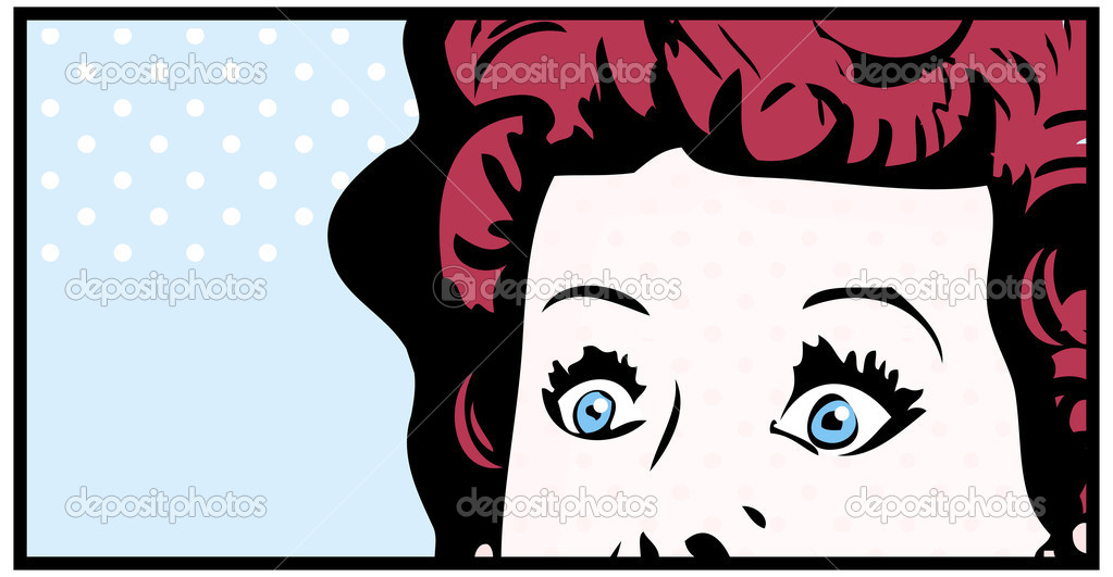 Cropped woman face pop art comic banner with Eyes Wide open  Photo #5247496