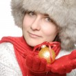 Brunette with christmas ball — Stock Photo