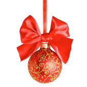 Red Christmas bow and ball — Stock Photo