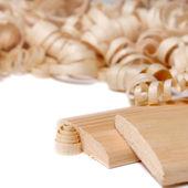 Zaagsel en planken — Stockfoto