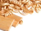 Wooden chips and planks — Stock Photo