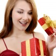Girl with gift box — Stock Photo #5020713