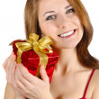 Happy girl with gift box — Stock Photo #5084681