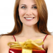 Happy girl with gift box — Stock Photo #5084687