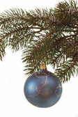 Fir branch with christmas ball — Stock Photo