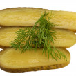 Gherkin Slices with Dill — Stock Photo