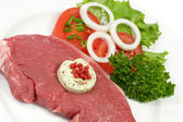 Rump steak with herbed butter — Stock Photo