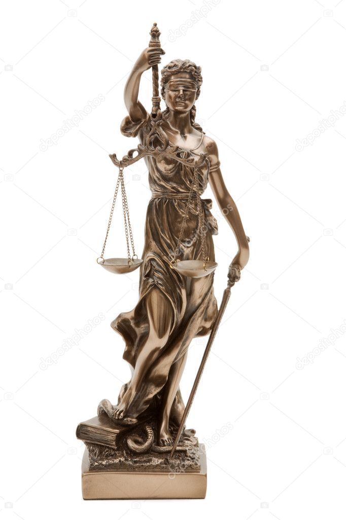 Figurine of Justitia - isolated on white background  Stock Photo #4150994