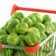 Stock Photo: Brussels sprouts in a shopping trolley