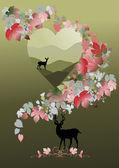 Forma de coração com decoração paisagem, cervos e doe — Vetorial Stock