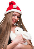 Young woman with white rabbit — Stock Photo
