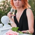 Beautiful woman drinking champagne — Stock Photo #4624283