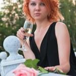 Beautiful woman drinking champagne — Stock Photo #4666033
